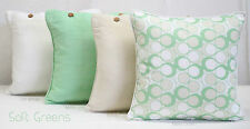 SET OF 4 40 X 40 CUSHION COVERS IN SOFT GREEN COLOURS - SCATTER, THROW PILLOWS