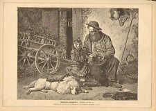 Street Performer, Drunk Monkey, Poodle Dog, Vintage 1875 German Antique Print