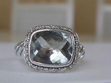$775 DAVID YURMAN SS PRASIOLITE DIAMOND NOBLESSE RING
