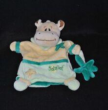 Peluche doudou marionnette hippopotame vert BABY'NAT beige fleur vert TTBE