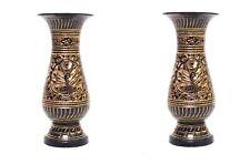 Indian Designer Golden Meenakari Hand Work Flower Brass Vase Set of 2