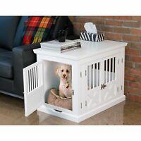 Pet Crate End Table Dog Furniture Kennel Indoor Cage Wood Wooden Side Large Room