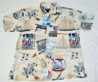 VTG Sportif Oharmer Boats Nautical Ocean Hawaiian Aloha Shirt Mens L Made in USA
