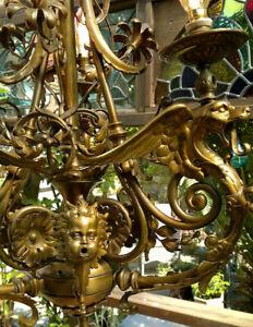 Antique English Victorian Gothic Bronze Dragon~Griffin 3 Light Chandelier