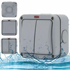 2way Double Light Switch Waterproof IP66 Outdoor Garden Weatherproof Wall Switch