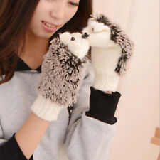 Women Girls Warm Cartoon Hedgehog Gloves Cute Knitted Cotton Winter Mittens