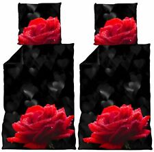 4 tlg Bettwäsche 135 x 200 cm Herzen Rosen schwarz rot Microfaser Wende Set