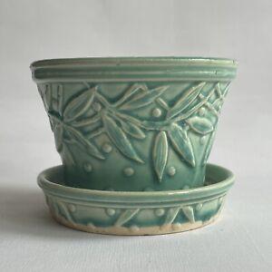 Vtg Small McCoy Art Pottery Hobnail & Leaf Flower Pot
