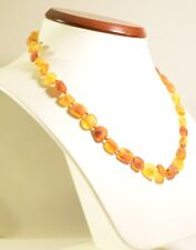 18 inch Natural Genuine Baltic amber necklace - unpolished olive style c-2345