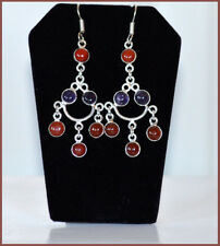 Metal Garnet Stone Chandelier Hook Earrings Fashion Jewelry Silver Tone
