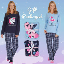 Ladies Womens Pyjama Pajama PJ Set Top Bottoms Fleece + Fluffy Socks Check S-XL