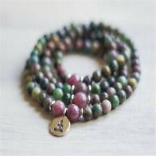 6mm Ruby Blue Crystal 108 Beads Pendant Bracelet yoga Wrist Healing Fancy