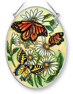 "Three Butterflies Sun Catcher New Amia Oval 7"" High Glass Flowers Butterfly"