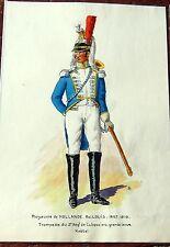 CUIRASSIER royaume de hollande 1807  DESSIN ORIGINAL A LA PLUME  ET PEINT