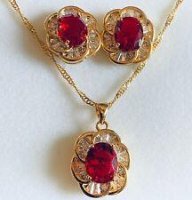 SET Red Ruby Sim Diamond Gold GF Matching Necklace Earrings Oval Cut PlumUK BOXD