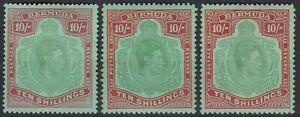 British Commonwealth. Bermuda. George VI  10/- Key Types x3. Mint.