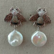White Coin Keshi Pearl Cz Pave Bee Stud Earrings