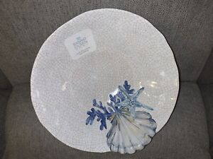 "Sigrid Olsen Melamine 12"" Serving Bowl Crackle Coral Starfish Clamshell Blue New"