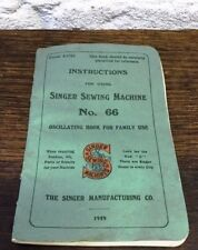 1919 - Singer Sewing Machine No 66. Vintage Instruction Booklet. Form K1783 June