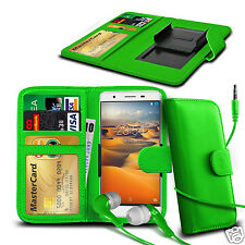 For Karbonn Titanium S1 Plus - Clip On PU Leather Wallet Case & Earphone