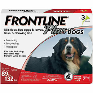FRONTLINE Plus Flea and Tick Treatment for XL Large Dogs (89-132 Pounds,3 Doses)