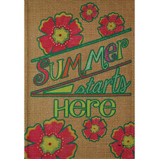 "SUMMER STARTS HERE 28"" X 40"" PORCH FLAG 26-2774-112 FLIP IT! RAIN OR SHINE SMR"