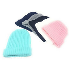 Ribbed Beanie Hats Mens Ladies Slouch Winter Knitted Turn Up Woolly Womens  Adult f286d0885e0c