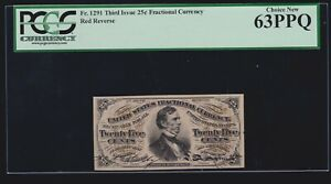 US 25c Fractional Currency 3rd Issue Red Back FR 1291 PCGS 63 PPQ Ch CU (020)