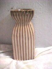 "Vtg ""David Long"" Pottery Candleholder, Squiggle Lines Pattern, 9 1/4"" Tall"