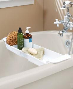 Extendable Bath Tub Bathtub Caddy Storage Caddie - WHITE Bathroom Organizer