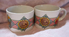 Sakura Garden Time Stoneware Mary Engelbriet At Home 1994 Set of Two Large Cups
