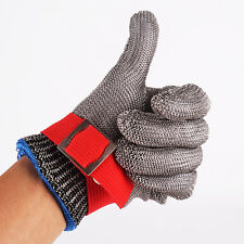 Red Safety Cut Resistant Stainless Steel Metal Mesh Butcher Glove Size S