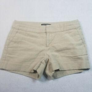 Banana Republic Womens 2Petite Shorts Chino Gold Sparkle Linen Blend