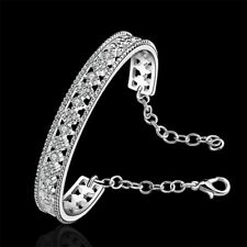 Fashion 925Sterling Solid Silver Jewelry Crystal Flower Bangles Bracelet K216