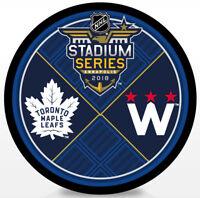 2018 NHL Stadium Series Dueling Hockey Puck Toronto Maple Leafs vs Washington