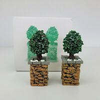 Dept 56 STONE CORNER POST with Holly Tree Set of 2 Village #52649