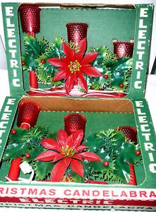 ACLA 2 VTG 70's Red 3 Lite Christmas Candolier Candelabra Electric Light