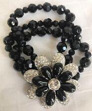 Lia Sophia Corsage Bracelet Stretch Black Beads Large Silver Tone Flower Cz Pave