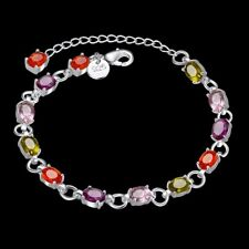 Fashion 925Sterling Solid Silver Jewelry Colorful Stone Crystal Bracelet H258