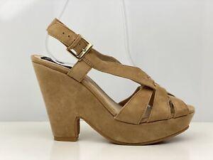 Bertie Womens Brown Suede Block Heel Slingback Sandal UK Size 5