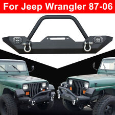 For 87-06 Jeep Wrangler TJ YJ Textured Front Bumper CREE Led Lights Winch PlateA