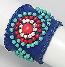 "7.5"" Cobalt Blue Leather Turquoise & Red Beaded Cuff Bracelet"