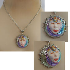 Moon Goddess Pendant Necklace Jewelry Handmade NEW Hand Sculpted NEW Clay