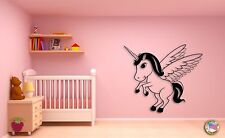 Wall Sticker For Kids Baby Unicorn With Wings Cool Decor for Nursery Room z1406