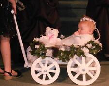 Flower Girl Pumpkin Wagon- Small size in Gloss White - Child's Wedding Wagon
