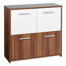 Crispi Side Cabinet 4 Door Walnut & White German Made Furniture Cupboard Storage