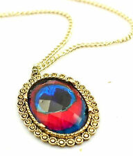 Vintage bronze peacock eye feather oval resin necklace