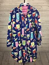 Nick and Nora Cotton Flannel Christmas Sleep Shirt Sz S Cocktails Ornaments Blue