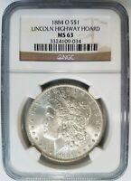 1884 O Silver Morgan Dollar NGC MS 63 Lincoln Highway Collection Pedigree Coin