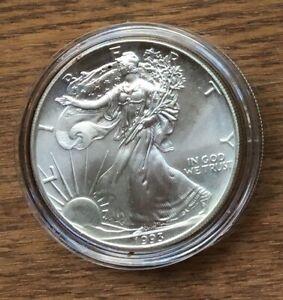 H284 US USA UNITED STATES 1993 1OZ $1 SILVER BU UNC EAGLE COIN IN CAPSULE